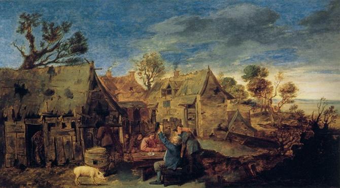 Adriaen_Brouwer_-_Village_Scene_with_Men_Drinking_-_WGA3318