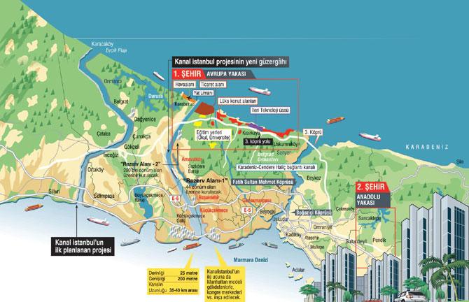 """Her 3-4 ayda bir güzergahı değiştirilen """"kanal-İstanbul"""" adı verilen rant ve yıkım projesinin olası güzergahları."""