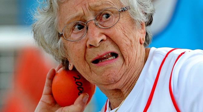 Canada's Olga Kotelko competes in the sh