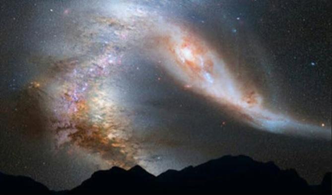 Samanyolu galaksi, andromeda, dünya, güneş sistemi