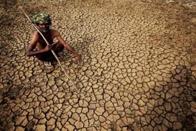 Hindistanlı bir çiftçi Karnataka eyaletinin güneyindeki Gauribidanur köyündeki kurumuş toprağının üzerinde çaresizce oturuyor.