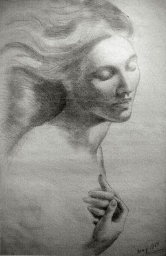 Evocation of Sultana Tabet [?], 1908 Kahlil Gibran Charcoal