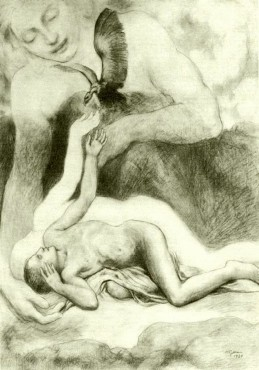 The Dying Man and the Vulture from The Forerunner, 1920 Pencil on paper Kahlil Gibran 22 x 16 3/4 inches