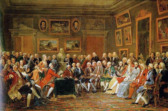 """Aydınlanma Çağı örneklerinden Voltaire'in """"la lettura della tragedia"""" adlı eserinin Dipinto di Charles Gabriel Lemonnier tarafından sunumu."""