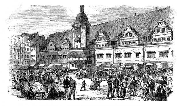 Leipzig'deki belediye binası ve pazar yeri, vintage gravür illüstrasyon. Trousset ansiklopedisi (1886 - 1891).
